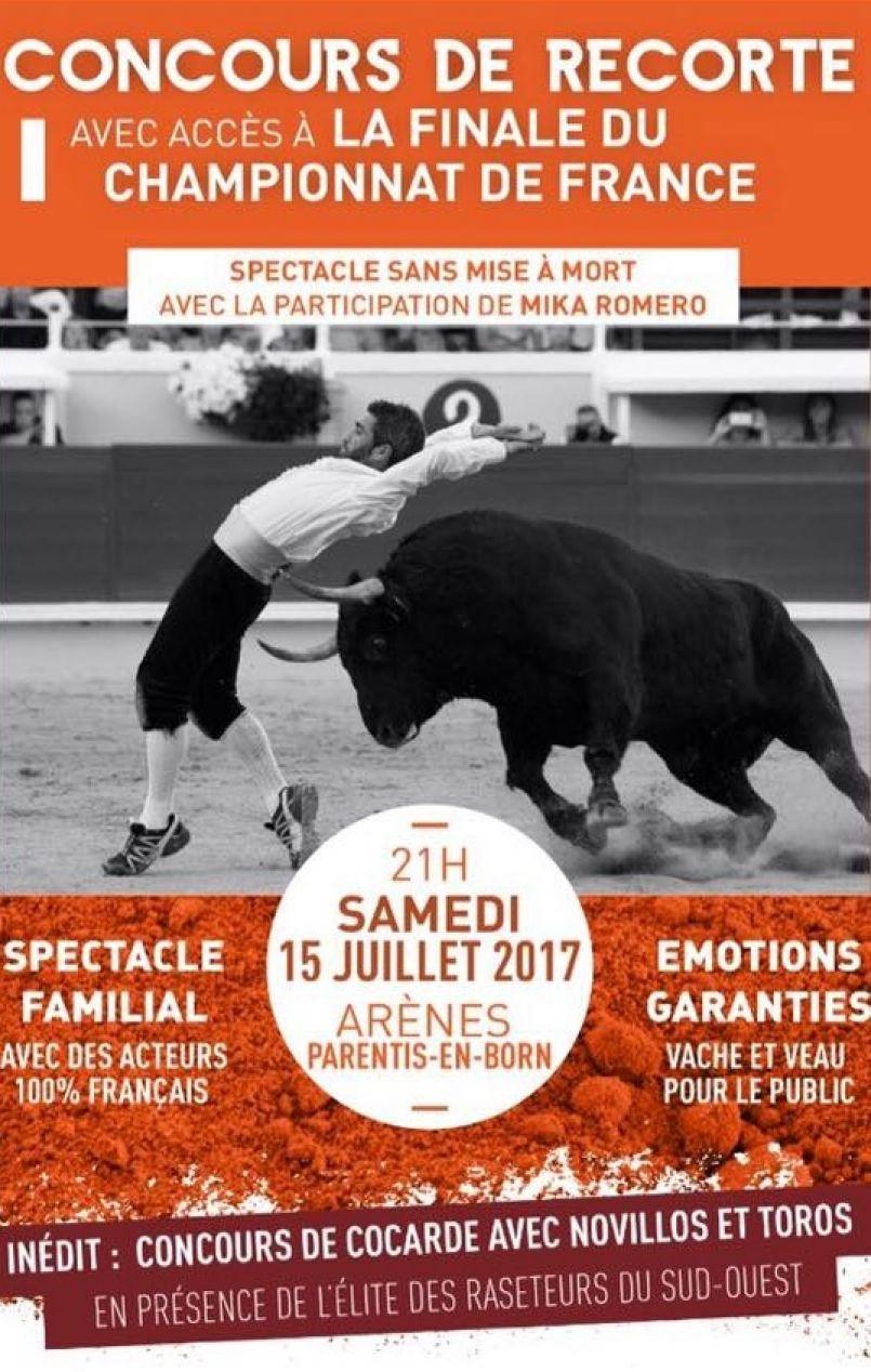 100% Recorte à Parentis en Born ce 15 juillet 2017, arènes Roland Portalier.