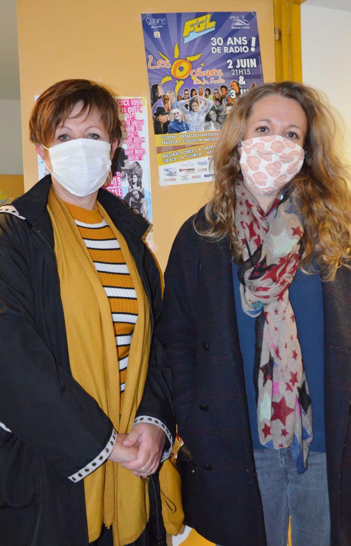 Premier bilan du déconfinement avec les présidentes masquées des associations de commerçants de Biscarrosse ville et plage, Aurore Tranchand et Béatrice Césari dans les studios d'FGL.