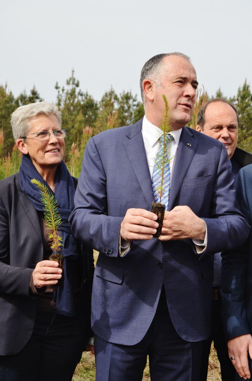 Le ministre de l'agriculture Didier Guillaume a entendu les professionnels de la filière bois et les élus...ici à Sanguinet et Ychoux.
